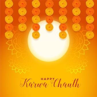 Gelukkige karwa chauth festivalkaart met volle maan en goudsbloembloem