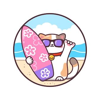 Gelukkige kat met een surfplank cartoon afbeelding