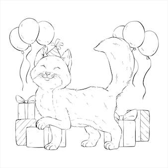 Gelukkige kat op verjaardagsfeestje met handtekening of schetsstijl