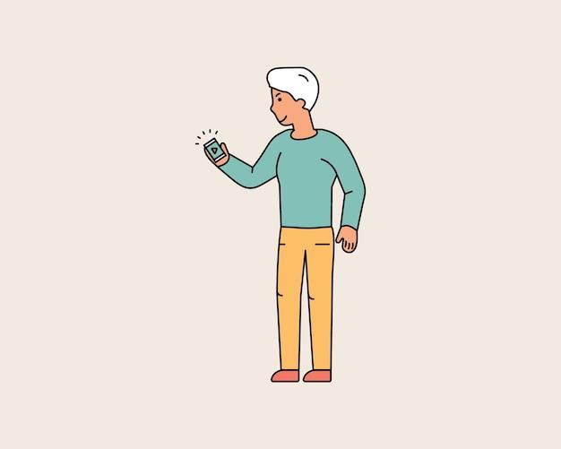 Gelukkige kerel kijkt naar de smartphone die in zijn hand houdt. de mens kijkt naar video aan de telefoon. kleurrijke lijn tekens mensen. platte ontwerp stijl minimale vectorillustratie.