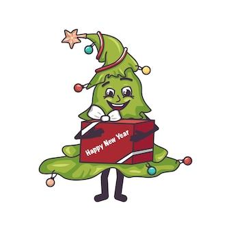 Gelukkige kerstboom met gezichtsbenen en een geschenkdoos in handen feestelijke glimlachdecoratie voor nieuwjaar en ...