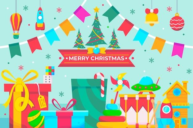 Gelukkige kerstdroom met speelgoed van een kind