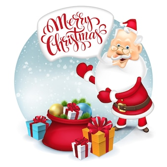 Gelukkige kerstman met cadeauzak. vectorillustratie eps 10