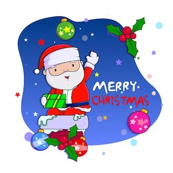 Gelukkige kerstman op schoorsteen handgetekende cartoonstijl
