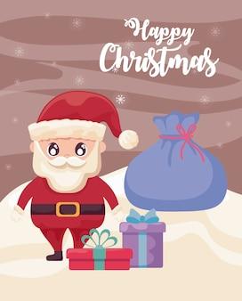 Gelukkige kerstmis met de kerstman met giftdozen op de winterlandschap