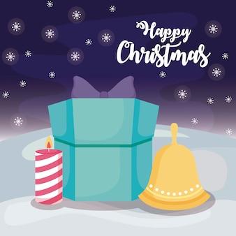 Gelukkige kerstmis met giftdoos op de winterlandschap