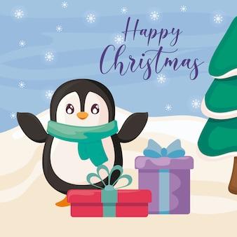 Gelukkige kerstmis met pinguïn en geschenkdozen