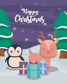Gelukkige kerstmis met pinguïn en rendier op de winterlandschap