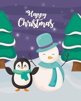 Gelukkige kerstmis met pinguïn en sneeuwman op de winterlandschap