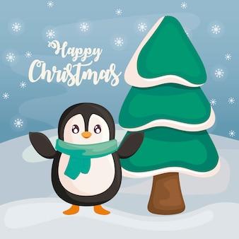 Gelukkige kerstmis met pinguïn op de winterlandschap