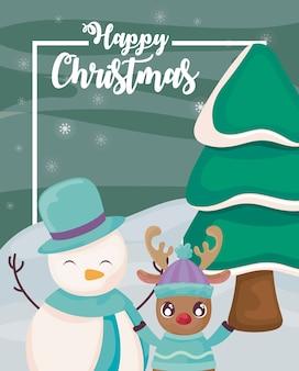 Gelukkige kerstmis met sneeuwman en rendier op de winterlandschap