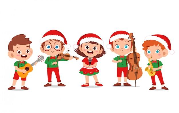 Gelukkige kerstmis van kinderen zingt musical