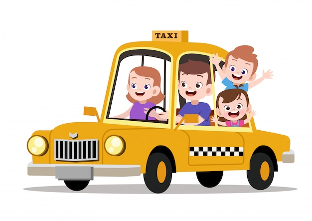 Gelukkige kinder familie rijden taxi vectorillustratie