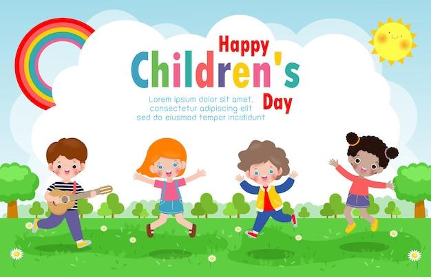 Gelukkige kinderdag achtergrondaffiche met gelukkige jonge geitjes met speelgoed geïsoleerde illustratie