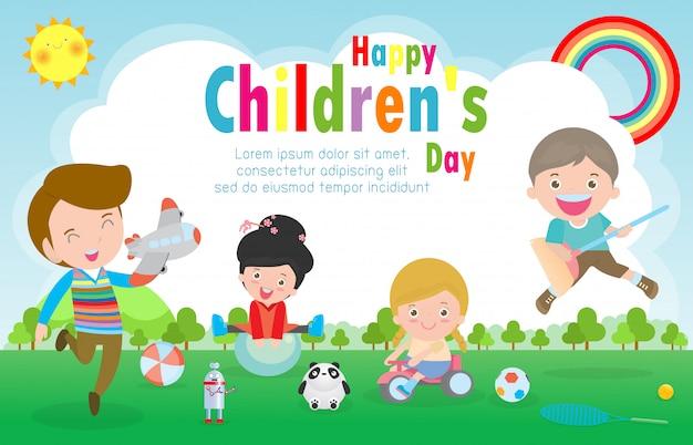 Gelukkige kinderdag achtergrondaffiche met gelukkige jonge geitjes