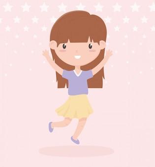 Gelukkige kinderdag, schattig klein meisje vieren handen omhoog sterren vector illustratie