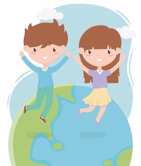 Gelukkige kinderdag, schattige kleine jongen en meisje wereldviering vector illustratie