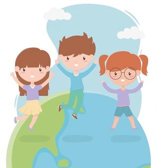 Gelukkige kinderdag, schattige kleine jongen en meisjes wereldviering vector illustratie