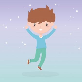 Gelukkige kinderdag, schattige kleine jongen vieren handen omhoog vectorillustratie