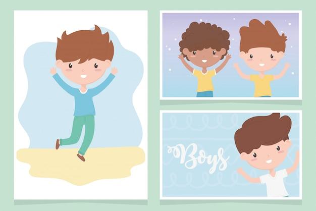 Gelukkige kinderdag, schattige kleine jongens cartoon grappige kaarten vector illustratie