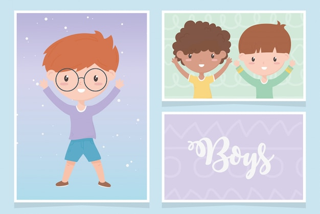 Gelukkige kinderdag, schattige kleine jongens cartoon kaarten vector illustratie