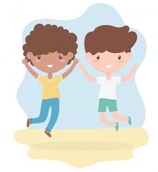 Gelukkige kinderdag, schattige kleine jongens cartoon viering vector illustratie