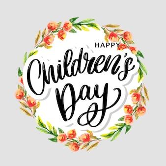 Gelukkige kinderdag, schattige vector wenskaart met grappige letters in scandinavische stijl en cartoon landschap