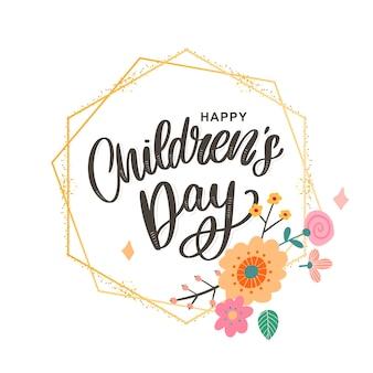 Gelukkige kinderdag, schattige wenskaart met grappige letters in scandinavische stijl en cartoon landschap