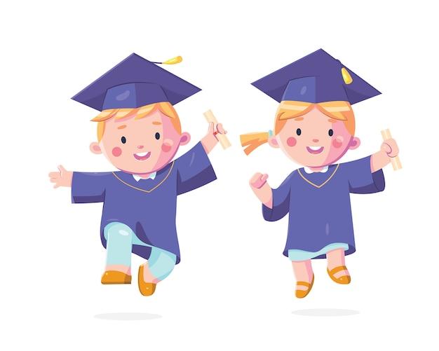 Gelukkige kinderen afstuderen dag karakter