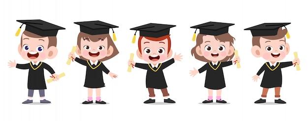 Gelukkige kinderen afstuderen vectorillustratie geïsoleerd