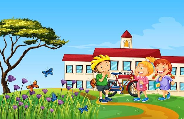 Gelukkige kinderen buiten natuur spelen