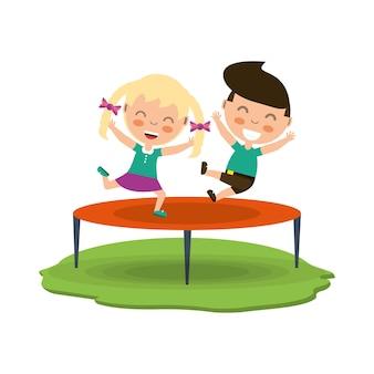 Gelukkige kinderen cartoon springen op het pictogram van de trampoline