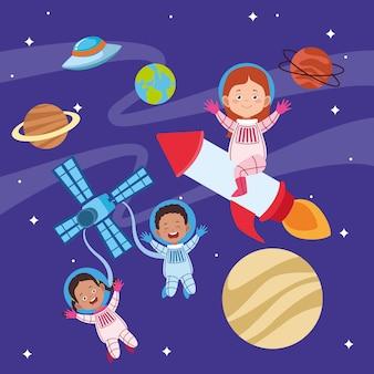 Gelukkige kinderen dag wenskaart met kinderen in de ruimte