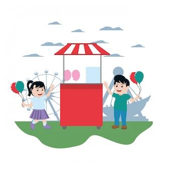 Gelukkige kinderen die carnaval-winkel kopen