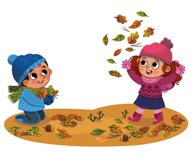 Gelukkige kinderen die plezier hebben in de vectorillustratie van het herfstpark