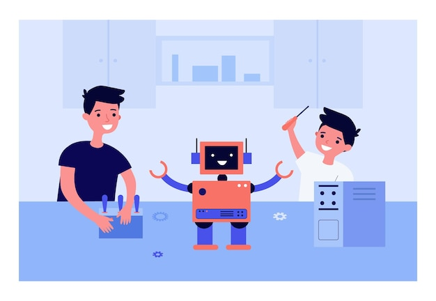 Gelukkige kinderen die robot samen maken
