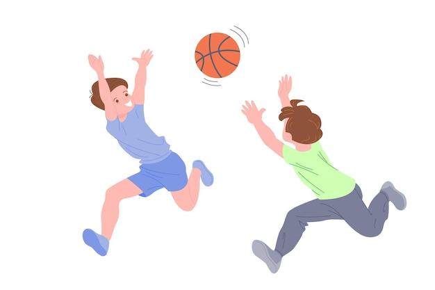 Gelukkige kinderen die sportspel spelen. jongen en meisje die lichaamsbeweging doen. kinderen die basketbal spelen. actieve gezonde jeugd. platte vector cartoon illustratie geïsoleerd op een witte achtergrond