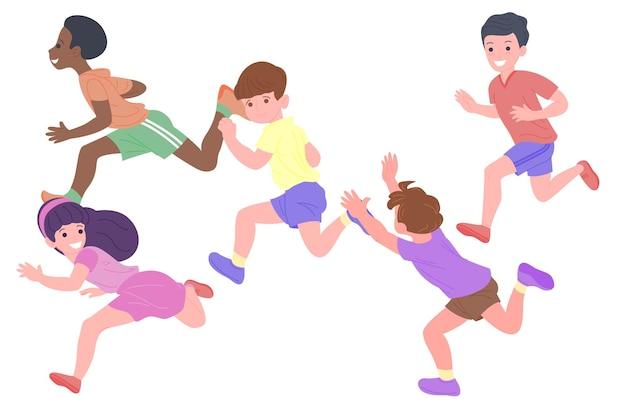 Gelukkige kinderen die sportspellen spelen. de jongens en de meisjes doen lichamelijke oefeningen. kinderen spelen een inhaalslag. actieve gezonde jeugd. set van platte vectorillustratie geïsoleerd op een witte achtergrond