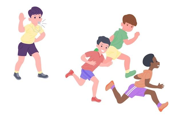 Gelukkige kinderen die sportspellen spelen. de jongens en het meisje doen lichamelijke oefeningen. kinderen spelen een inhaalslag. actieve gezonde jeugd. set van platte vectorillustratie geïsoleerd op een witte achtergrond