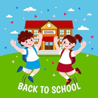 Gelukkige kinderen die terug naar schoolconcept toejuichen