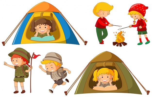 Gelukkige kinderen doen verschillende activiteiten om te kamperen