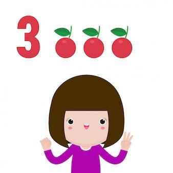 Gelukkige kinderen hand met de nummer drie, schattige kinderen met nummers met de vingers. klein kind studie wiskunde aantal tellen fruit onderwijs concept, leermateriaal geïsoleerde illustratie