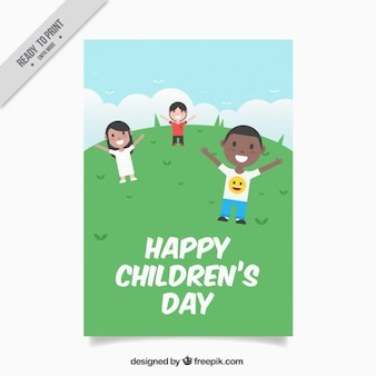 Gelukkige kinderen in het veld kaart