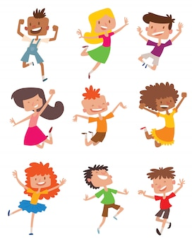 Gelukkige kinderen in verschillende posities vector set.