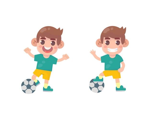 Gelukkige kinderen jongen voetballen