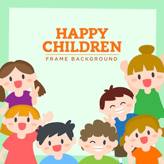 Gelukkige kinderen, jongens en meisjes glimlachen, frame, achtergrond