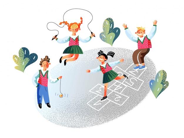 Gelukkige kinderen leerling spelen op schoolplein