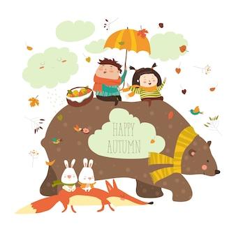 Gelukkige kinderen met beer en vos