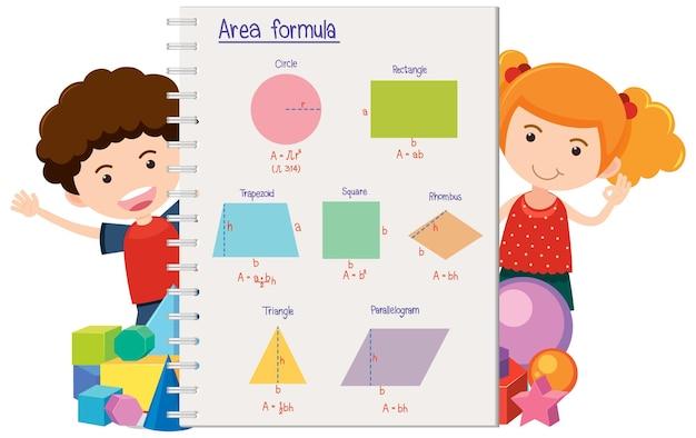 Gelukkige kinderen met formule voor wiskundegebied