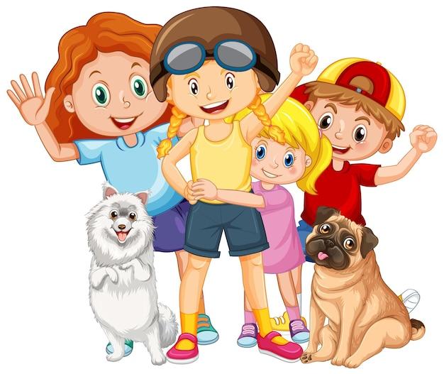 Gelukkige kinderen met hun huisdieren op witte achtergrond